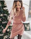 Екстравагантна рокля в цвят пудра - код 2129